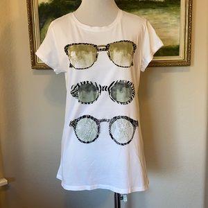 Zara Trafaluc White Sunglasses Tee